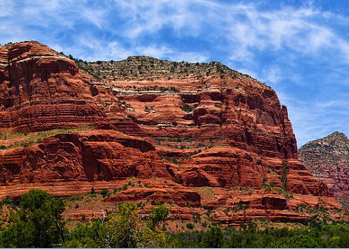 Arid Climate Greeting Card featuring the photograph Courthouse Butte Rock Formation Sedona Arizona by Amy Cicconi