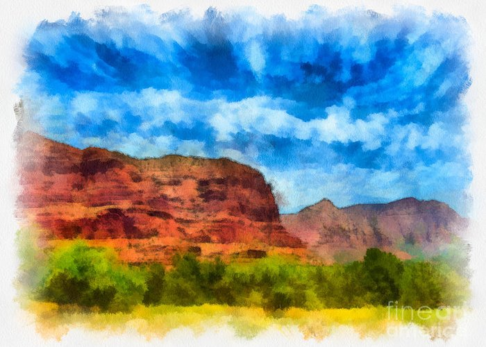 Arid Climate Greeting Card featuring the digital art Courthouse Butte Sedona Arizona by Amy Cicconi