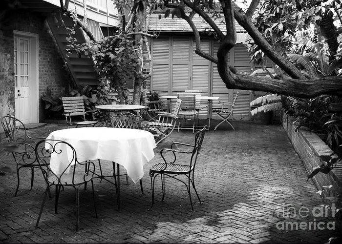 Courtyard Seating Greeting Card featuring the photograph Courtyard Seating by John Rizzuto