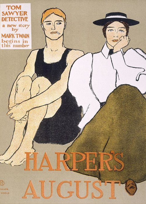 Bathing Costume Greeting Card featuring the drawing Cover Of Harpers Magazine, 1896 by Edward Penfield