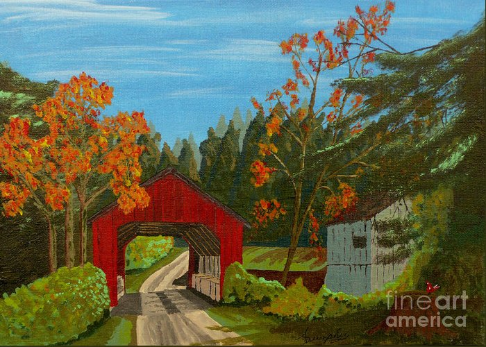 Path Greeting Card featuring the painting Covered Bridge by Anthony Dunphy
