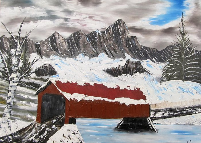 Vermont Greeting Card featuring the painting Covered Bridge by Larry Marano