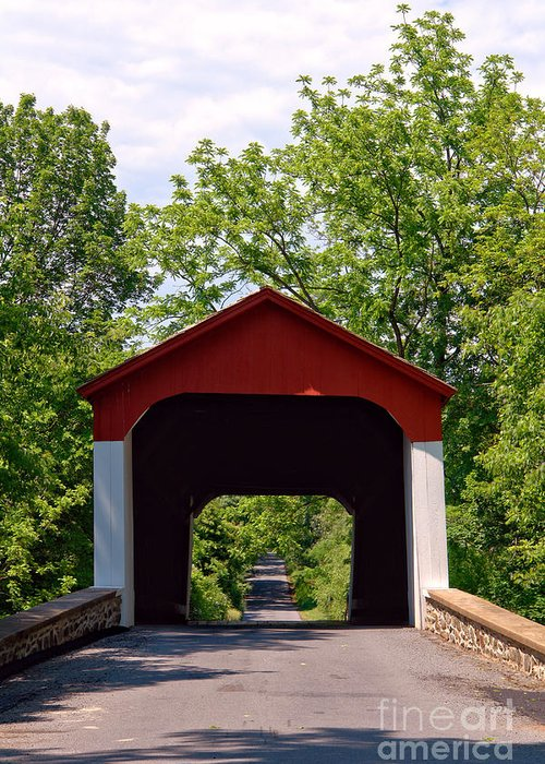 Covered Greeting Card featuring the photograph Covered Bridge by Olivier Le Queinec