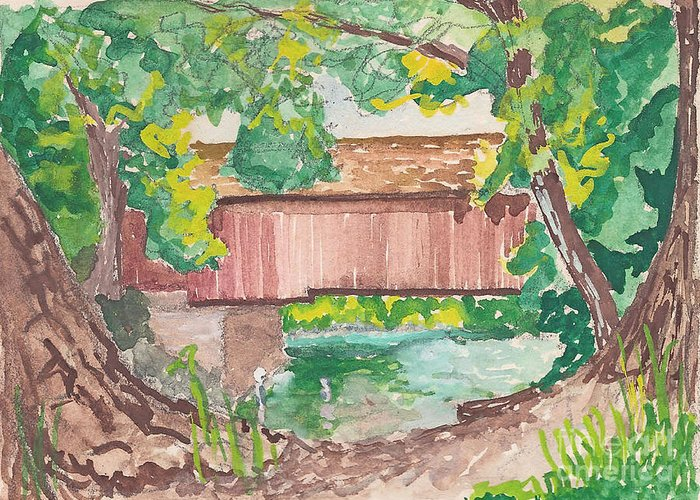 Covered Bridge Greeting Card featuring the painting Covered Bridge Watercolor by Fred Jinkins