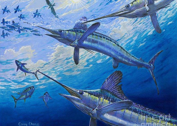 White Marlin Greeting Card featuring the painting Covered Up Off0035 by Carey Chen