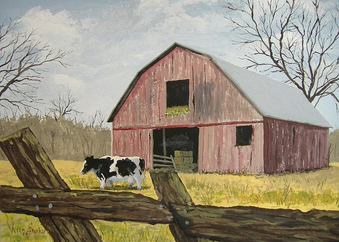 Barn Greeting Card featuring the painting Cow And Barn by Norm Starks