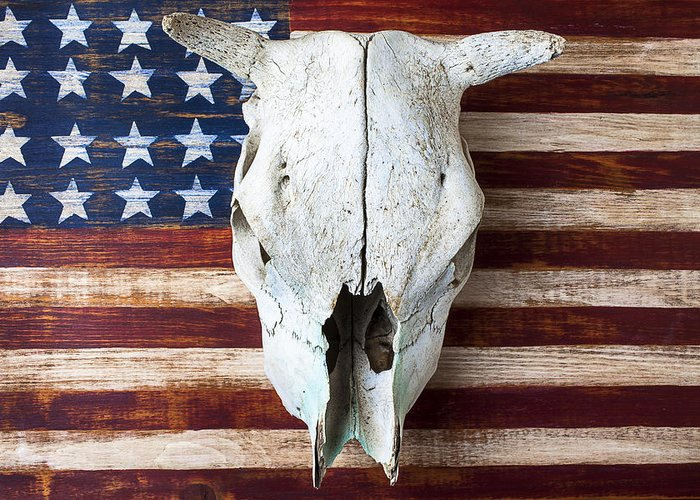 Cow Skull Greeting Card featuring the photograph Cow Skull On Folk Art American Flag by Garry Gay