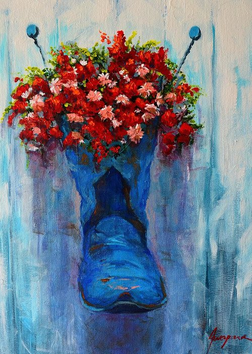 Art Greeting Card featuring the painting Cowboy Boot Unusual Pot Series by Patricia Awapara
