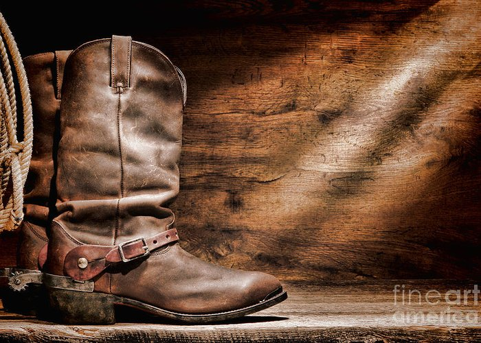 Cowboy Boots Greeting Card featuring the photograph Cowboy Boots On Wood Floor by Olivier Le Queinec