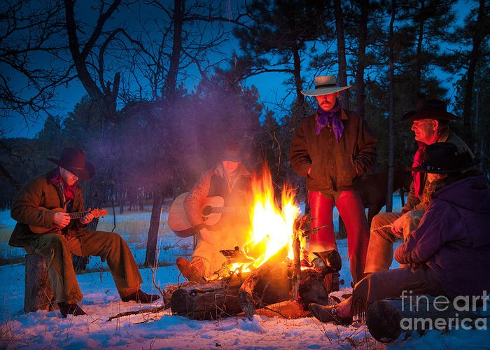 America Greeting Card featuring the photograph Cowboy Campfire by Inge Johnsson