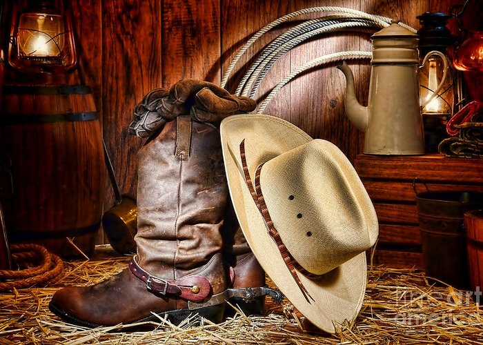 Cowboy Greeting Card featuring the photograph Cowboy Gear by Olivier Le Queinec