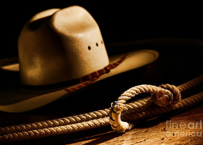 Western Greeting Card featuring the photograph Cowboy Hat And Lasso by Olivier Le Queinec