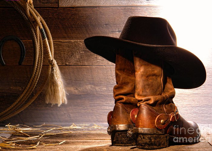 Western Greeting Card featuring the photograph Cowboy Hat On Boots by Olivier Le Queinec