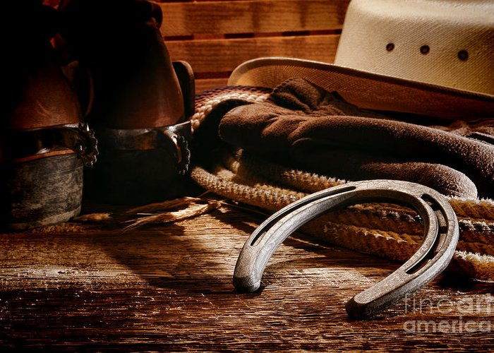Western Greeting Card featuring the photograph Cowboy Horseshoe by Olivier Le Queinec