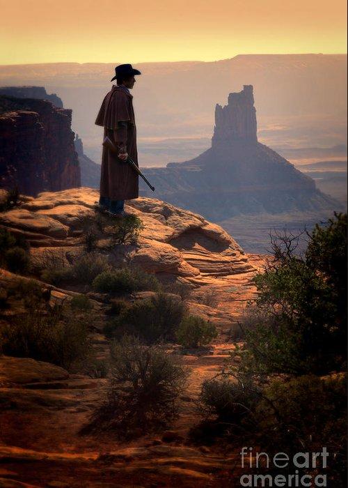 Cowboy Greeting Card featuring the photograph Cowboy On A Cliff by Jill Battaglia