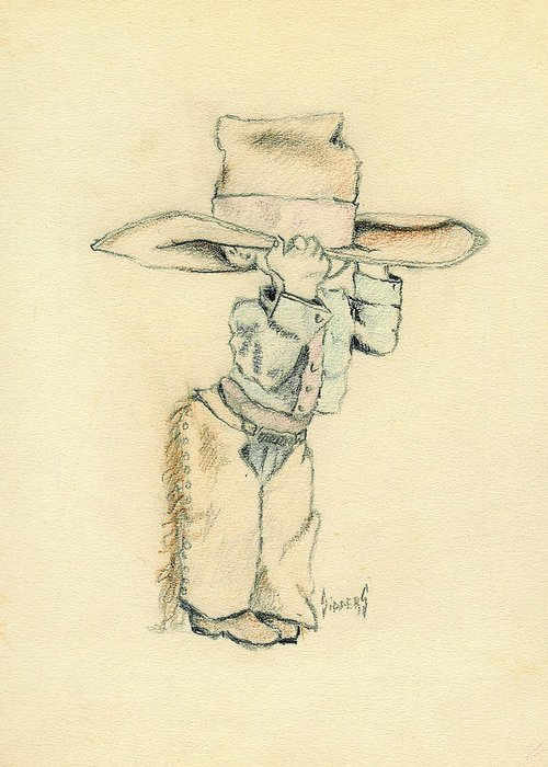 Cowboy Greeting Card featuring the drawing Cowboy by Sam Sidders