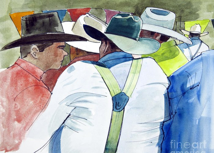 Horses Greeting Card featuring the painting Cowboys by Chuck Hayden