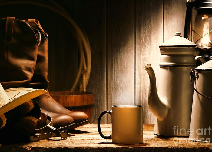 Western Greeting Card featuring the photograph Cowboy's Coffee Break by Olivier Le Queinec