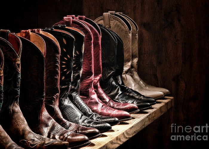 Cowgirl Boots Greeting Card featuring the photograph Cowgirl Boots Collection by Olivier Le Queinec