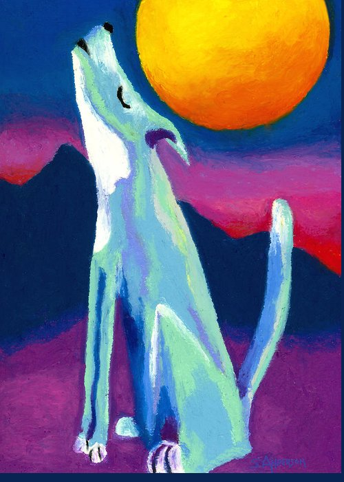 Coyote Greeting Card featuring the painting Coyote Azul by Stephen Anderson