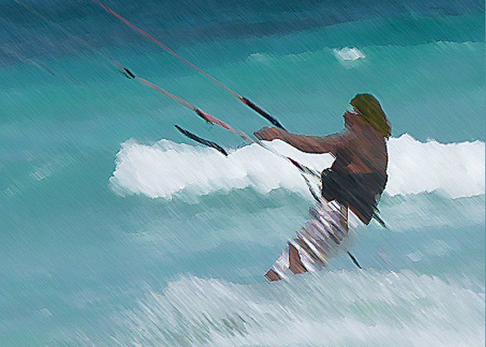 Kite Boarding Greeting Card featuring the photograph Cozumel Kiting by Carol McCutcheon