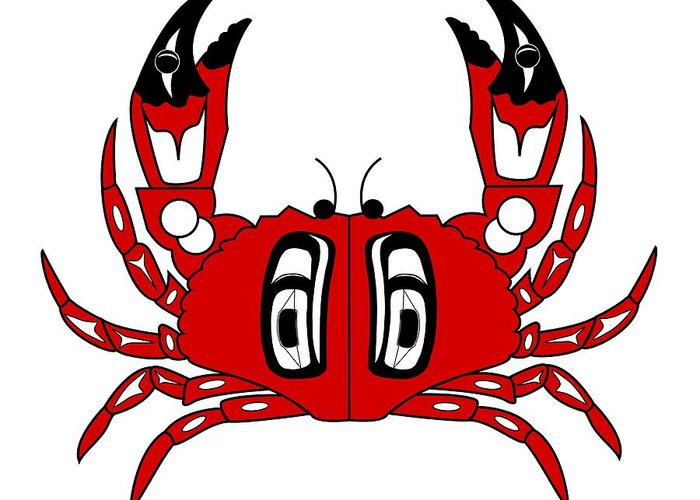 Haida Point Art Greeting Card featuring the drawing Crab Dungeness by Fred Croydon