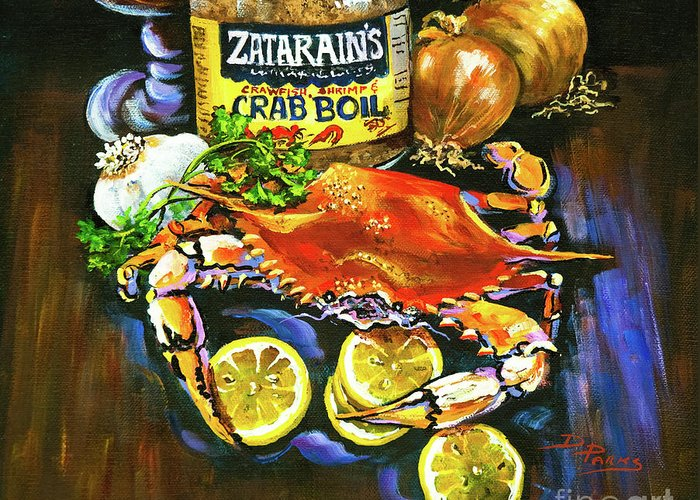 Crab Greeting Card featuring the painting Crab Fixin's by Dianne Parks