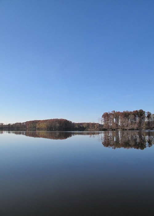 Immense Blue Sky Intensifies Crab Orchard Lake's Blue Mood Greeting Card featuring the photograph Crab Orchard Lake's Blue Mood by Frank Chipasula