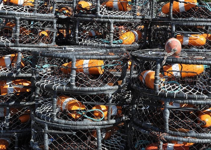 Harbor Greeting Card featuring the photograph Crab Pots by Brandon Bourdages