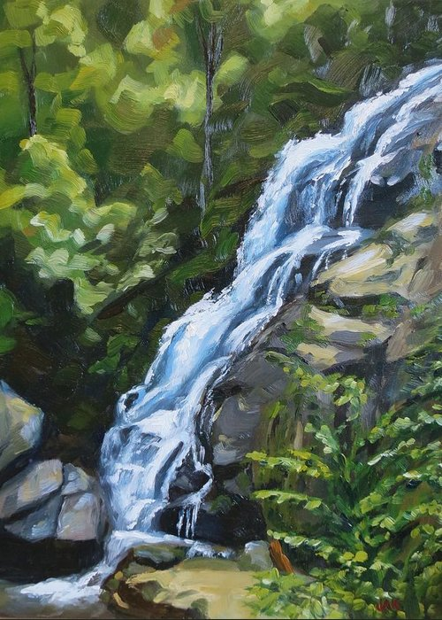 Landscape Greeting Card featuring the painting Crabtree Falls by Jaymi Krystowiak