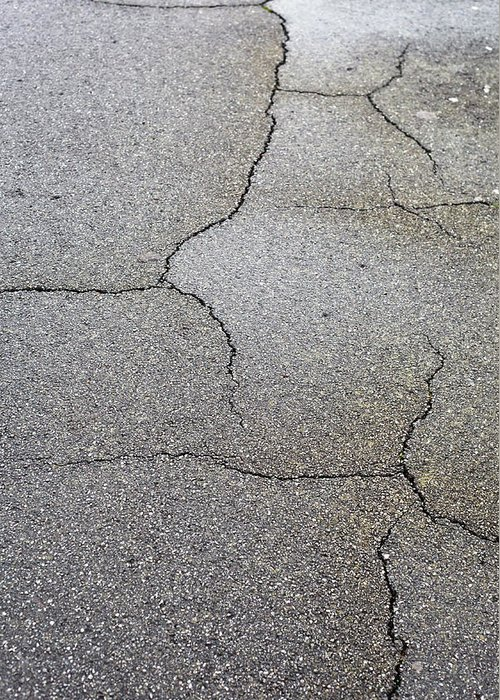 Abstract Greeting Card featuring the photograph Cracked Tarmac by Tom Gowanlock