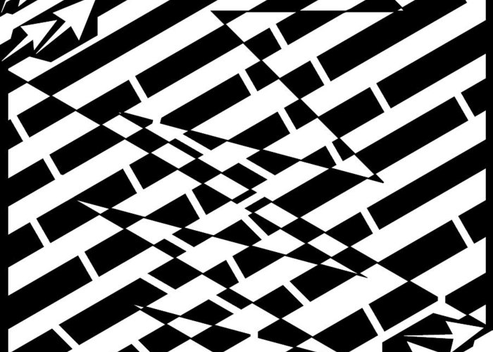 Crak Greeting Card featuring the drawing Cracks In The Pavement Maze by Yonatan Frimer Maze Artist