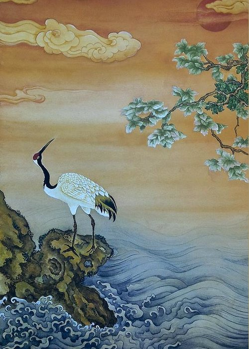 Nature Greeting Card featuring the painting Crane Perched On A Rock At Dawn by Nicola Mountney