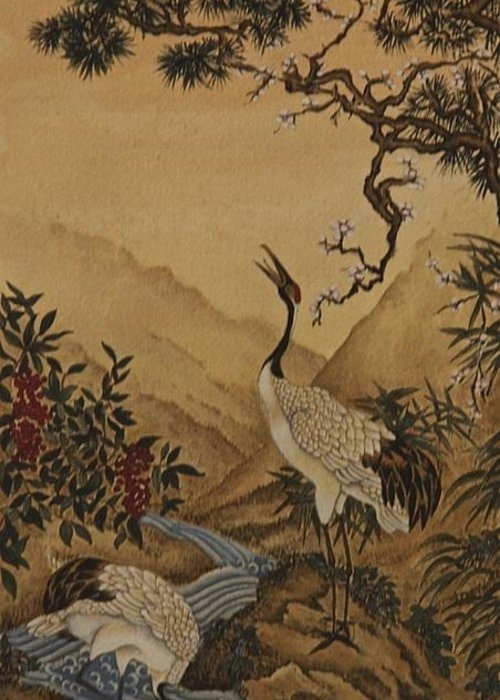 Landscape Greeting Card featuring the painting Cranes Beside A River With A Plum Tree by Nicola Mountney