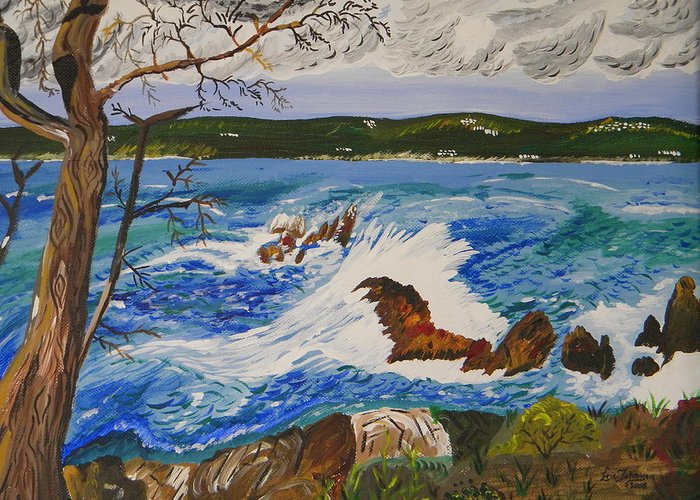 Point Lobos State Reserve Greeting Card featuring the painting Crashing Wave by Eric Johansen