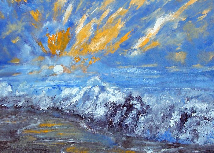 Seashore Greeting Card featuring the painting Crashing Waves by Robert Gross