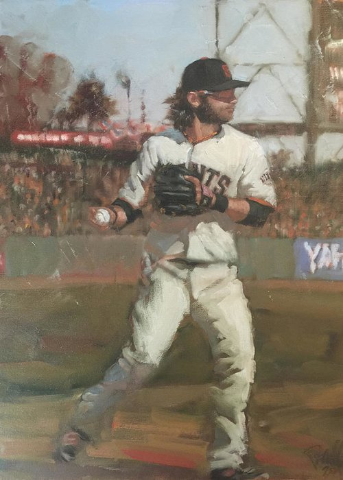 Brandon Crawford Greeting Card featuring the painting Crawford Day Game by Darren Kerr