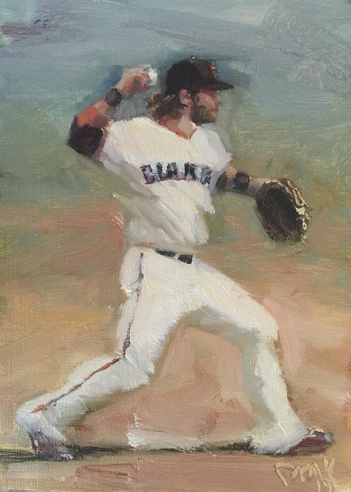 Brandon Crawford Greeting Card featuring the painting Crawford Sketch by Darren Kerr
