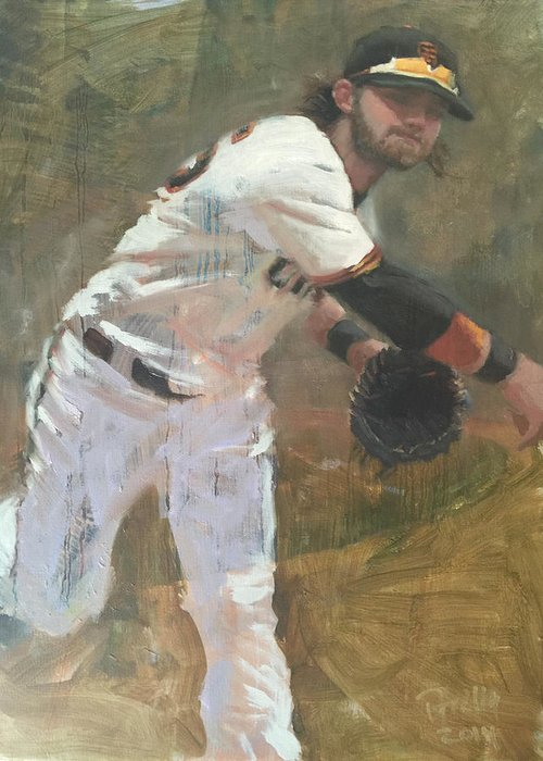 Brandon Crawford Greeting Card featuring the painting Crawford Throw to First by Darren Kerr