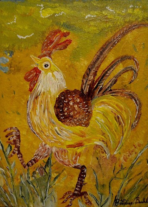 Chicken Greeting Card featuring the painting Crazy Chicken by Louise Burkhardt