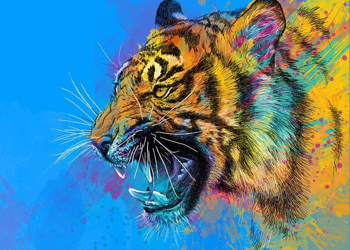 Tiger Greeting Card featuring the digital art Crazy Tiger by Olga Shvartsur