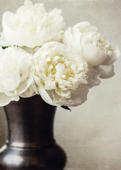 Peonies Greeting Card featuring the photograph Cream Peonies In A Rustic Vase by Lisa Russo