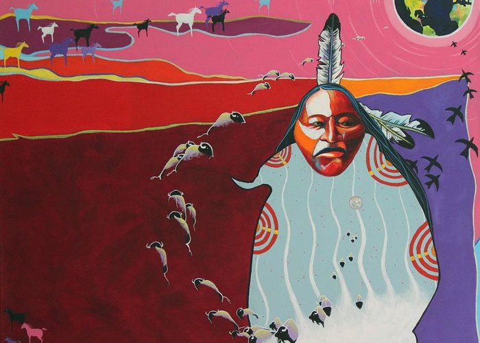 Native American Greeting Card featuring the painting Creation by Joe Triano
