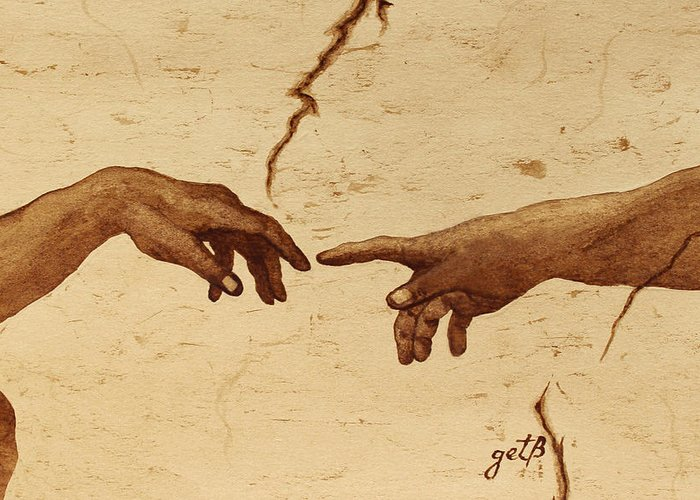 Creation Of Adam Greeting Card featuring the painting Creation Of Adam Hands A Study Coffee Painting by Georgeta Blanaru