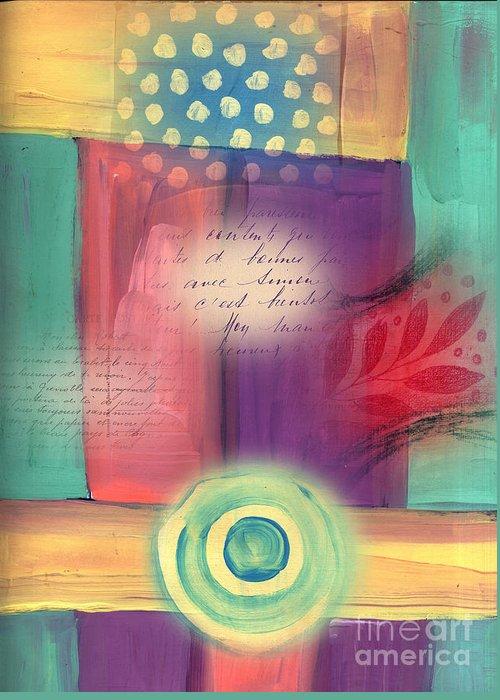 Chakra Greeting Card featuring the mixed media Creative Thinking Chakra by Elaine Jackson