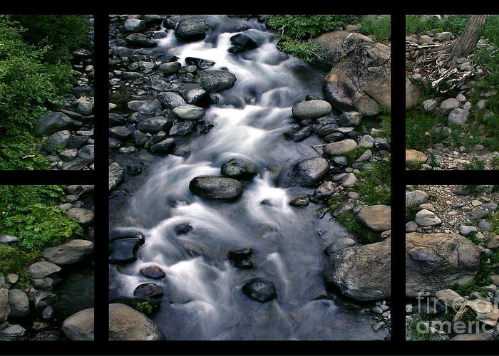Creek Greeting Card featuring the digital art Creek Flow Polyptych by Peter Piatt