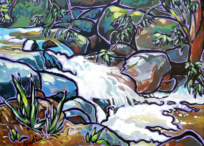Creek Greeting Card featuring the painting Creek by Nadi Spencer