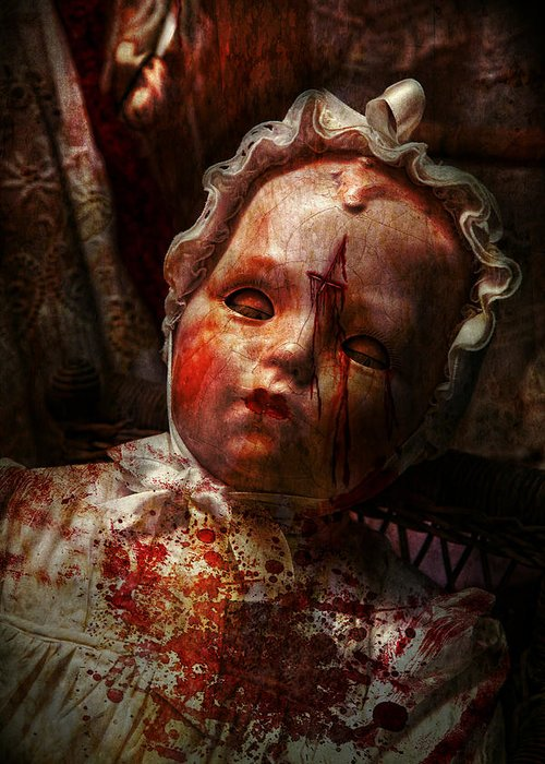 Doll Greeting Card featuring the photograph Creepy - Doll - It's Best To Let Them Sleep by Mike Savad