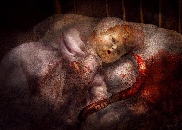 Doll Greeting Card featuring the digital art Creepy - Doll - Night Terrors by Mike Savad