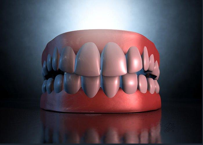 Teeth Greeting Card featuring the digital art Creepy Teeth by Allan Swart